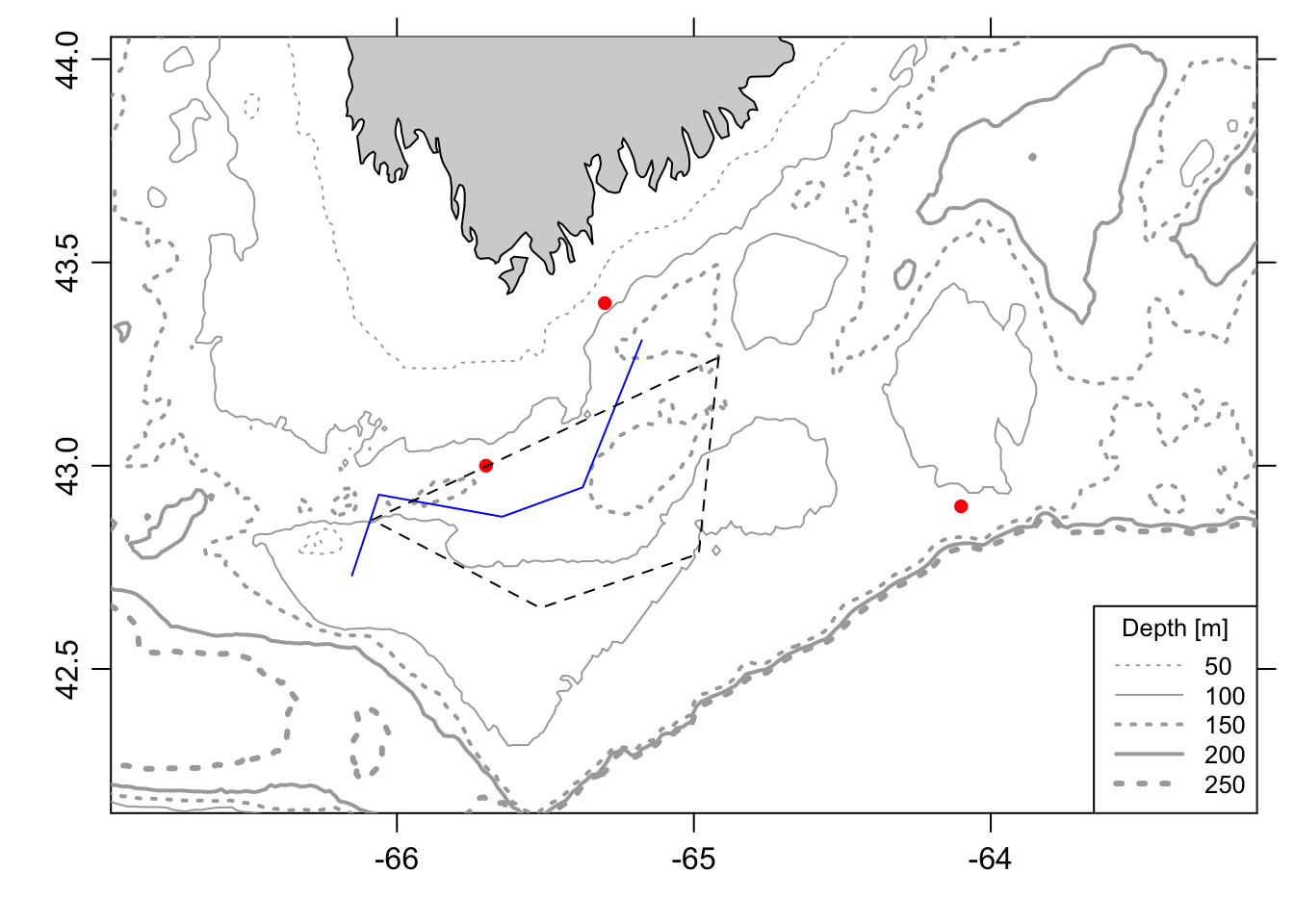 Bathymetric maps in R | Hansen Johnson
